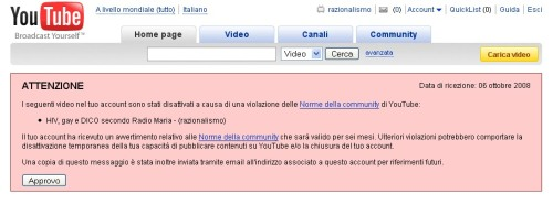 Avviso Youtube